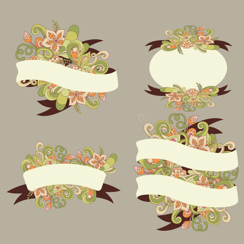 Elementos decorativos da flor Grupo de fitas para seu projeto A garatuja da flor do vetor pode ser usada para o casamento ilustração do vetor