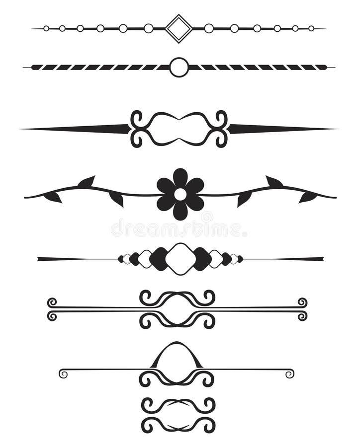 Elementos decorativos da página fotografia de stock