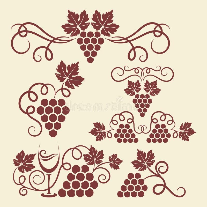 Elementos de la vid de uva libre illustration