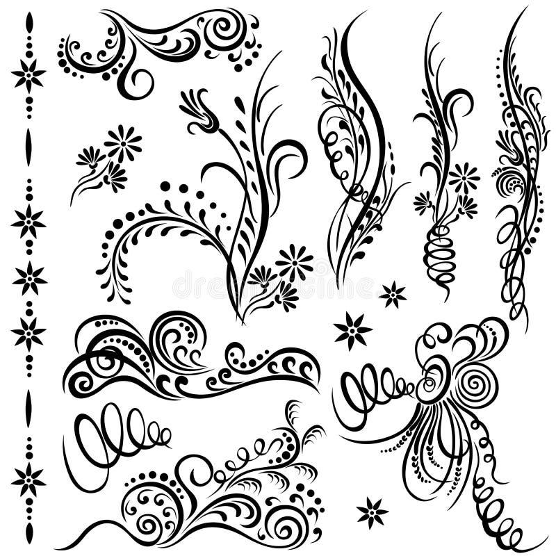 Elementos decorativos de roda ajustados ilustração royalty free