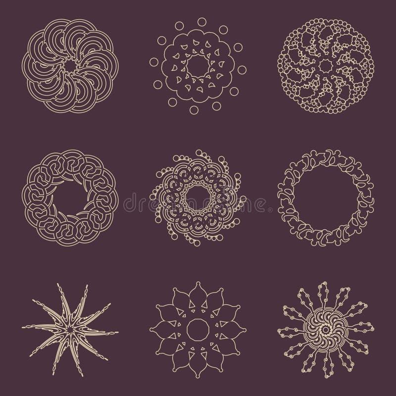 Elementos decorativos del diseño Modelos fijados ilustración del vector