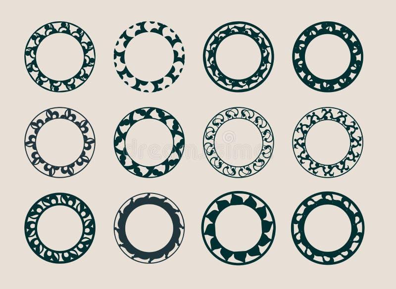 Elementos decorativos del diseño Modelos fijados stock de ilustración