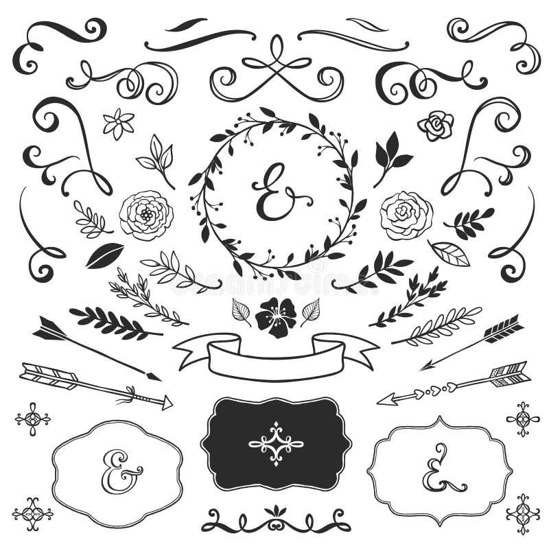 Elementos decorativos del vintage con las letras Vector drenado mano ilustración del vector