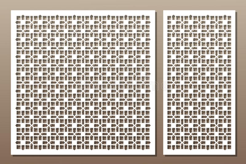 Elementos decorativos determinados para el corte del laser geométrico stock de ilustración