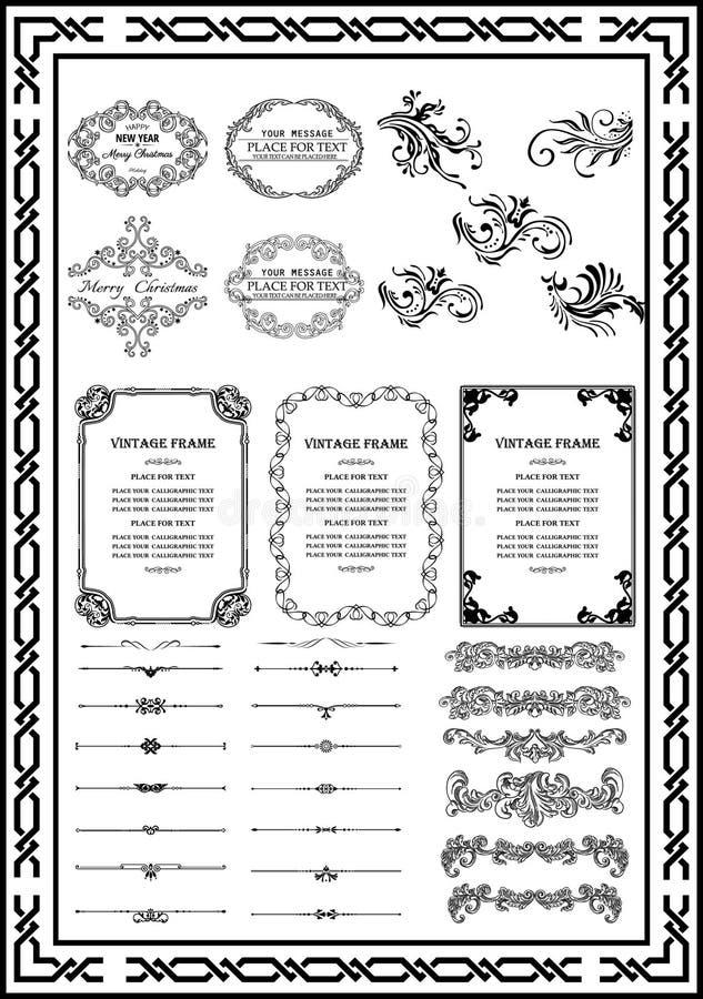 Elementos decorativos determinados para el negro del diseñador stock de ilustración