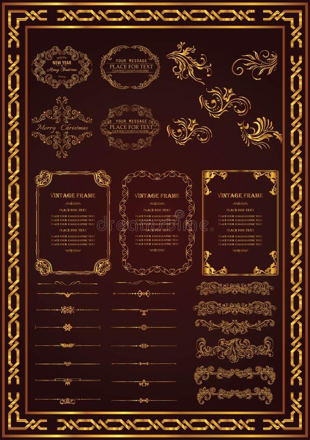 Elementos decorativos determinados para el oro del diseñador ilustración del vector