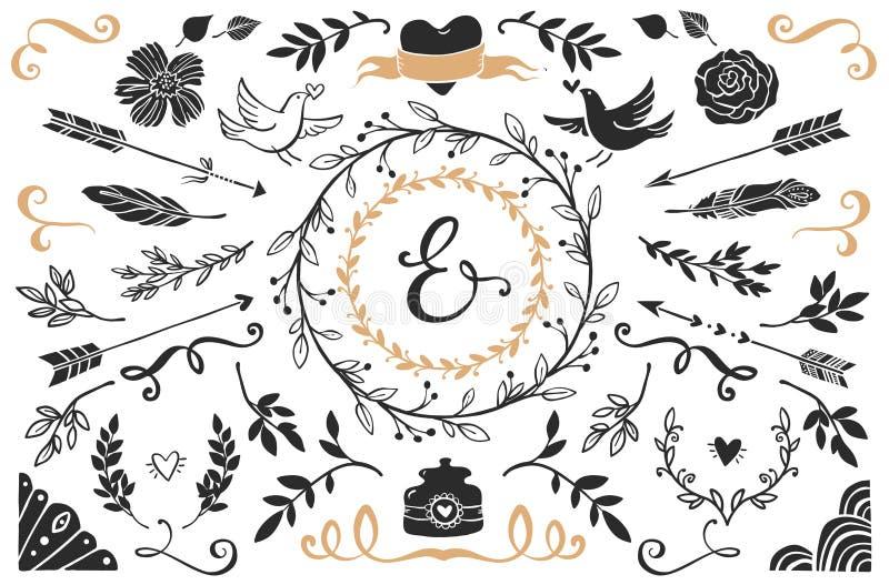 Elementos decorativos dibujados mano del vintage con las letras stock de ilustración