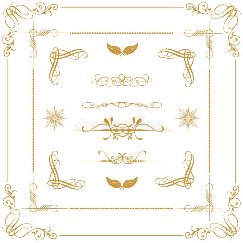 Elementos decorativos do ouro fotografia de stock