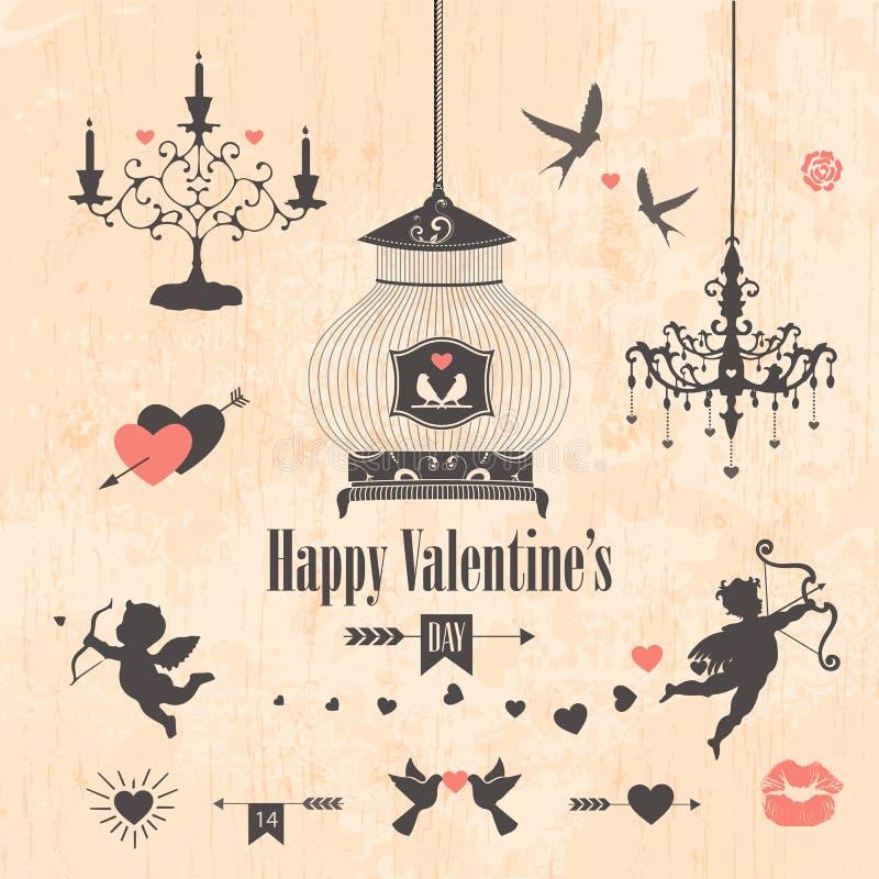 Elementos decorativos do projeto do dia de Valentim ilustração stock