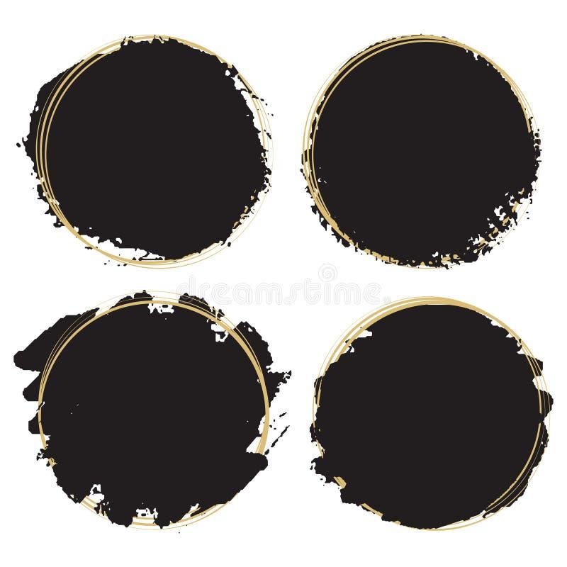 Elementos decorativos do projeto do grunge - quadros redondos artísticos da pintura preta ilustração royalty free