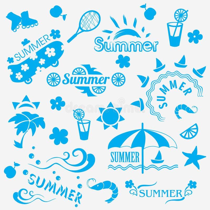 Elementos decorativos do verão ilustração do vetor