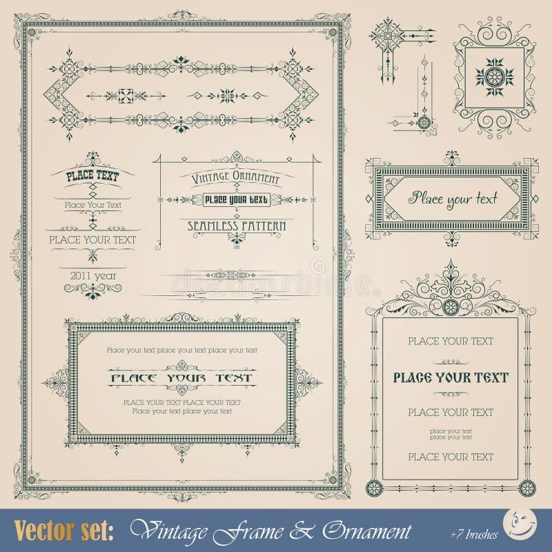 Elementos decorativos do vintage ilustração royalty free