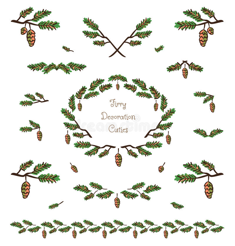 Elementos decorativos e vinhetas da planta bonito do vetor ilustração stock
