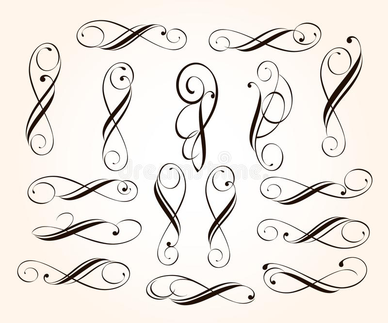 Elementos decorativos elegantes ajustados do rolo Ilustra??o do vetor ilustração stock