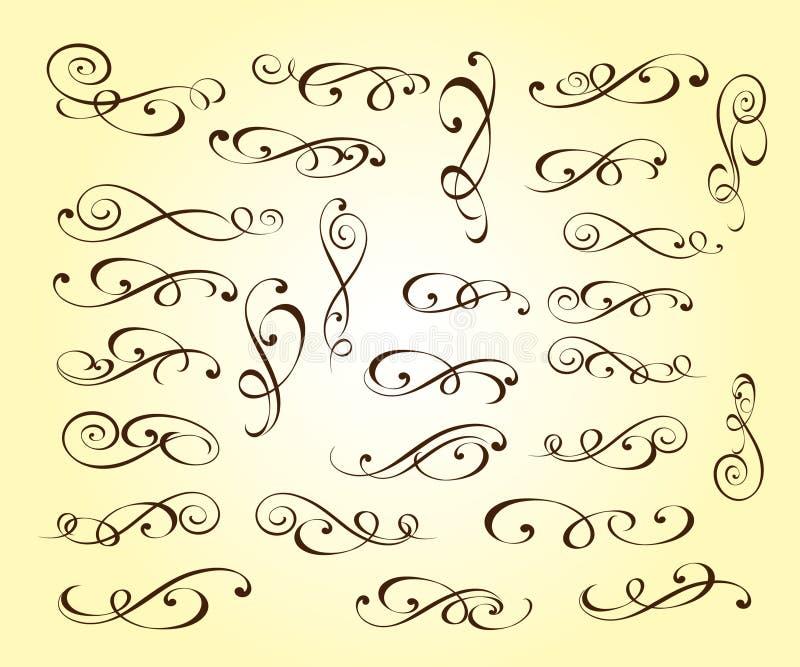 Elementos decorativos elegantes ajustados Illustrati do vetor ilustração royalty free
