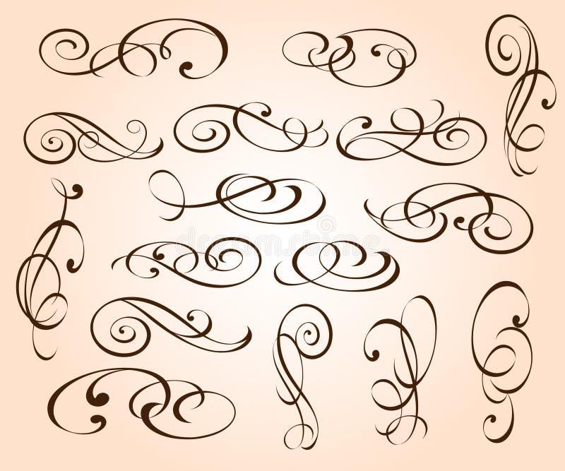 Elementos decorativos elegantes ajustados Illustrati do vetor ilustração stock