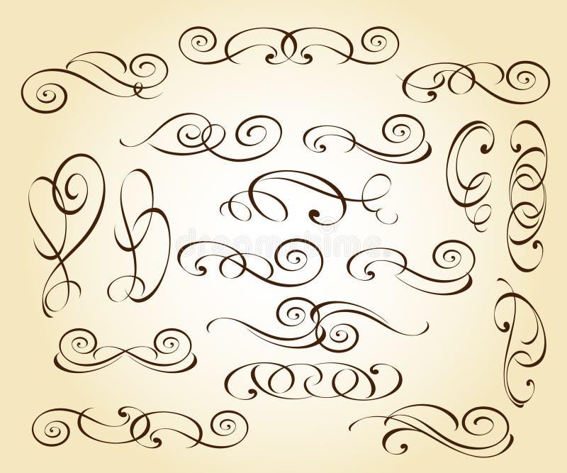 Elementos decorativos elegantes ajustados Vetor Illustratio ilustração royalty free