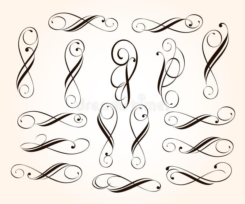 Elementos decorativos elegantes determinados de la voluta Ilustraci?n del vector stock de ilustración