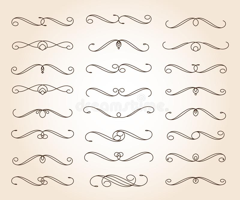 Elementos decorativos elegantes determinados de la voluta Vector Ilustración del vector marrón libre illustration
