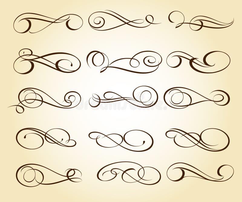 Elementos decorativos elegantes determinados Vector Illustratio ilustración del vector
