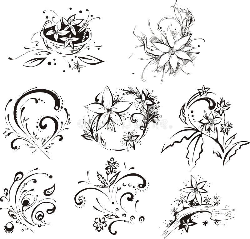 Elementos decorativos estilísticos da flor ilustração do vetor