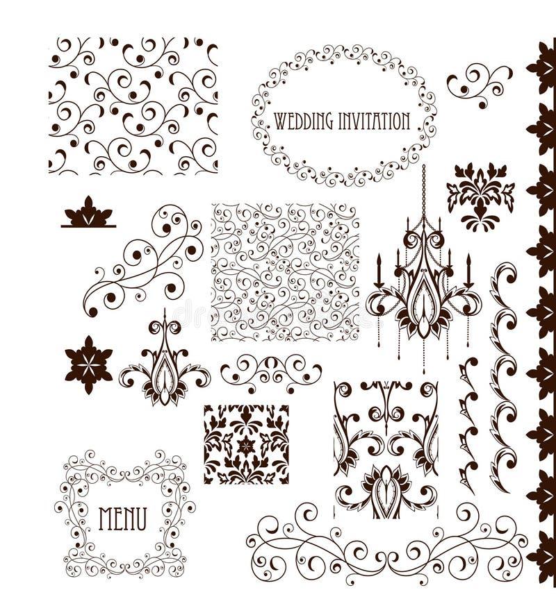 Elementos decorativos - estilo retro del vintage stock de ilustración