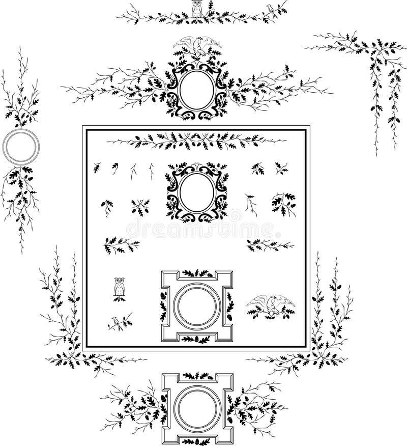 Elementos decorativos - estilo retro do vintage ilustração do vetor