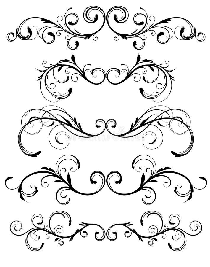 Elementos decorativos florais ilustração stock
