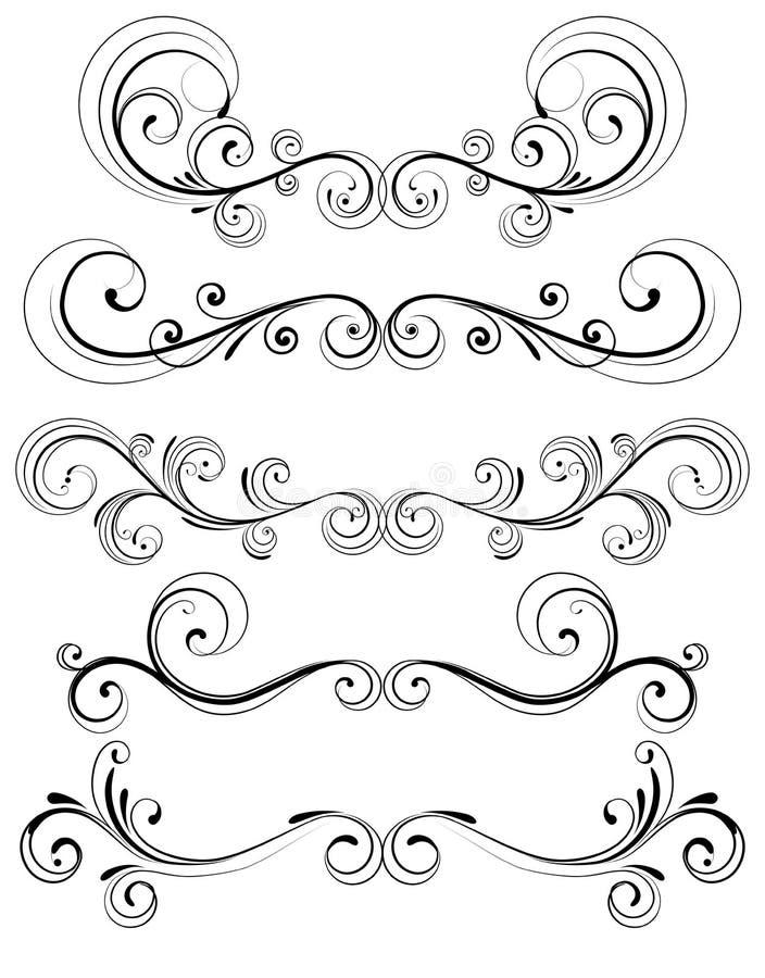 Elementos decorativos florais ilustração do vetor