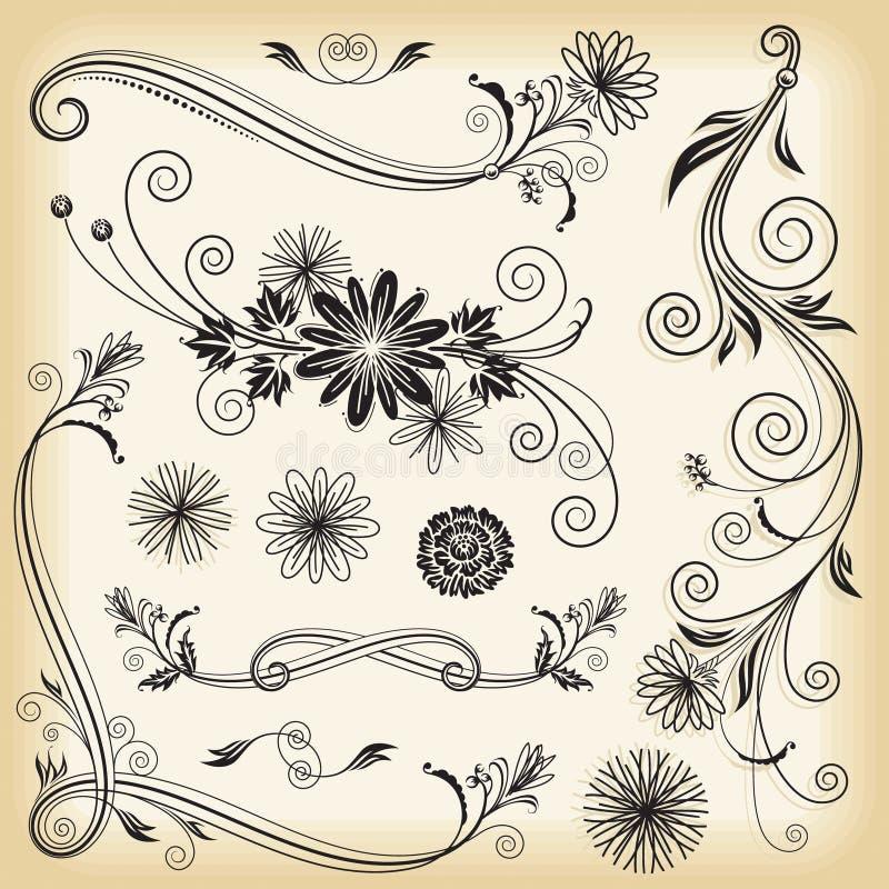 Elementos Decorativos Florais Fotografia de Stock Royalty Free