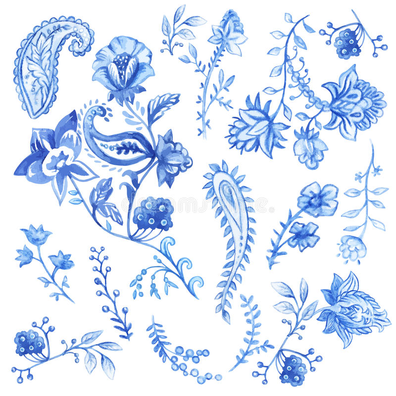 Elementos decorativos florais azuis e brancos Aquarela do vetor ilustração royalty free