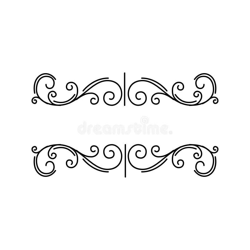 Elementos decorativos Frontera floral de la página Decoración de la página de Prnamental Remolinos, rizos Elemento del diseño Vec stock de ilustración