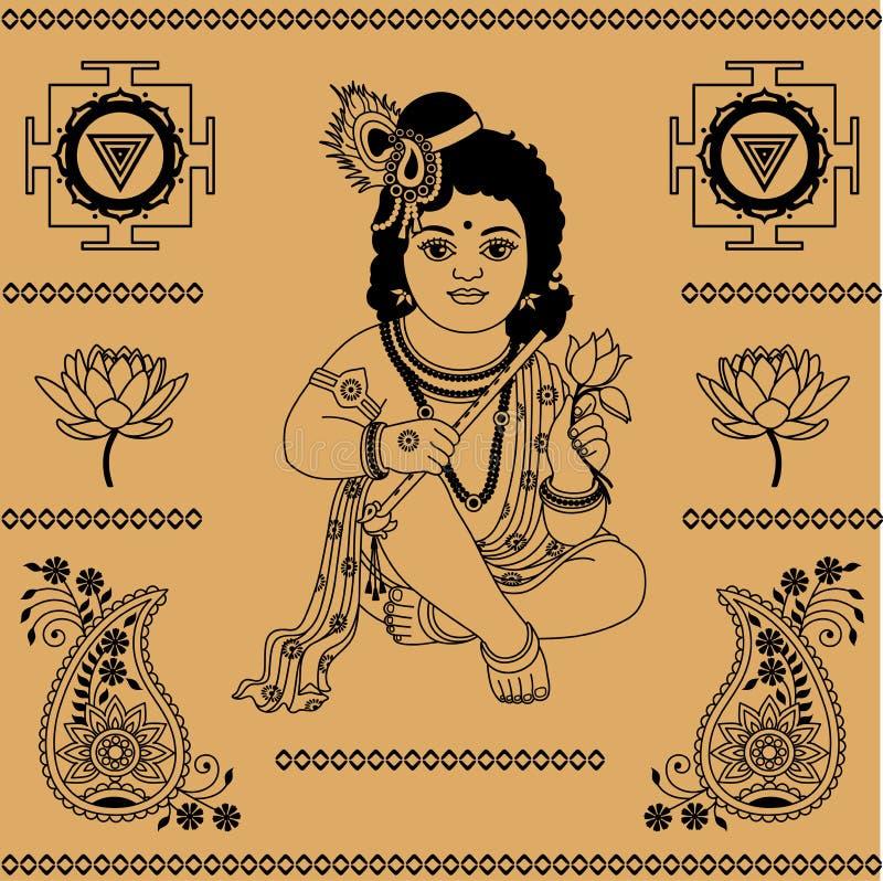Elementos decorativos indianos ilustração royalty free