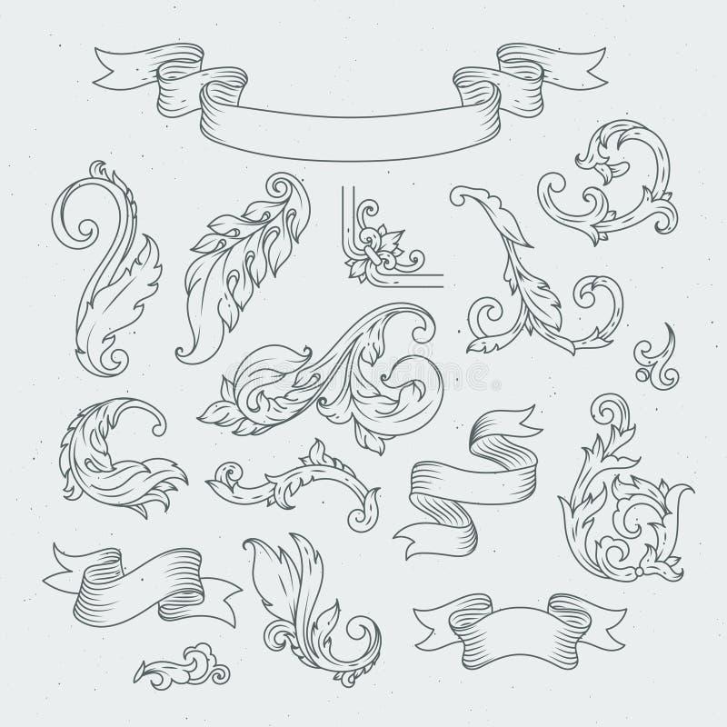 Elementos decorativos no estilo barroco Ornamento vitoriano, folhas do acanthus ilustração royalty free
