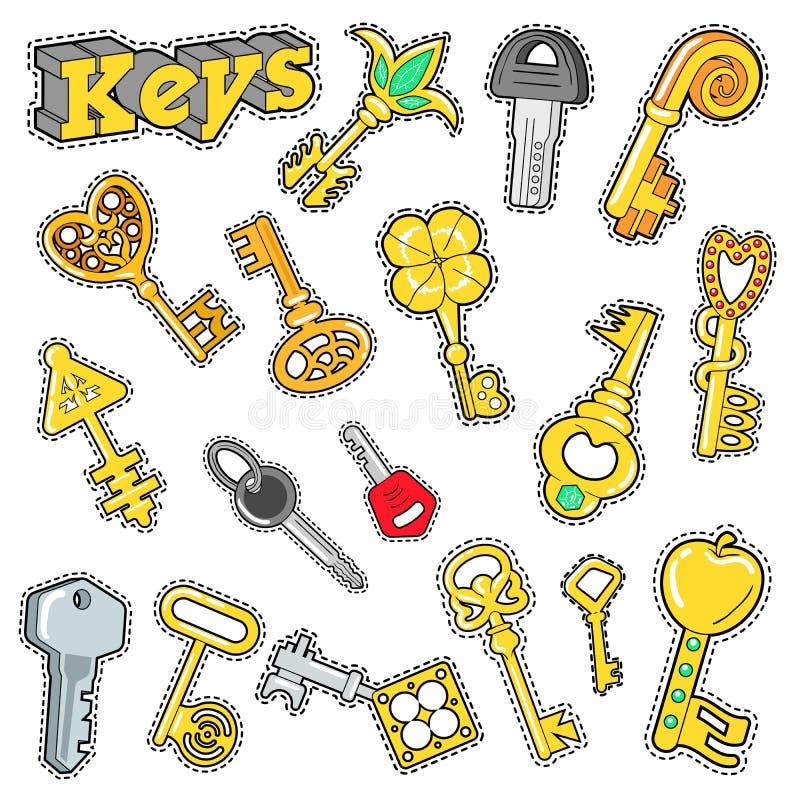 Elementos decorativos para o álbum de recortes, etiquetas das chaves, remendos, crachás ilustração do vetor