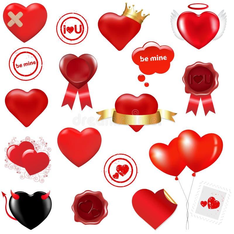 Elementos del amor de la colección ilustración del vector
