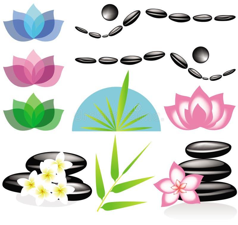 Elementos del balneario para su diseño o insignia libre illustration