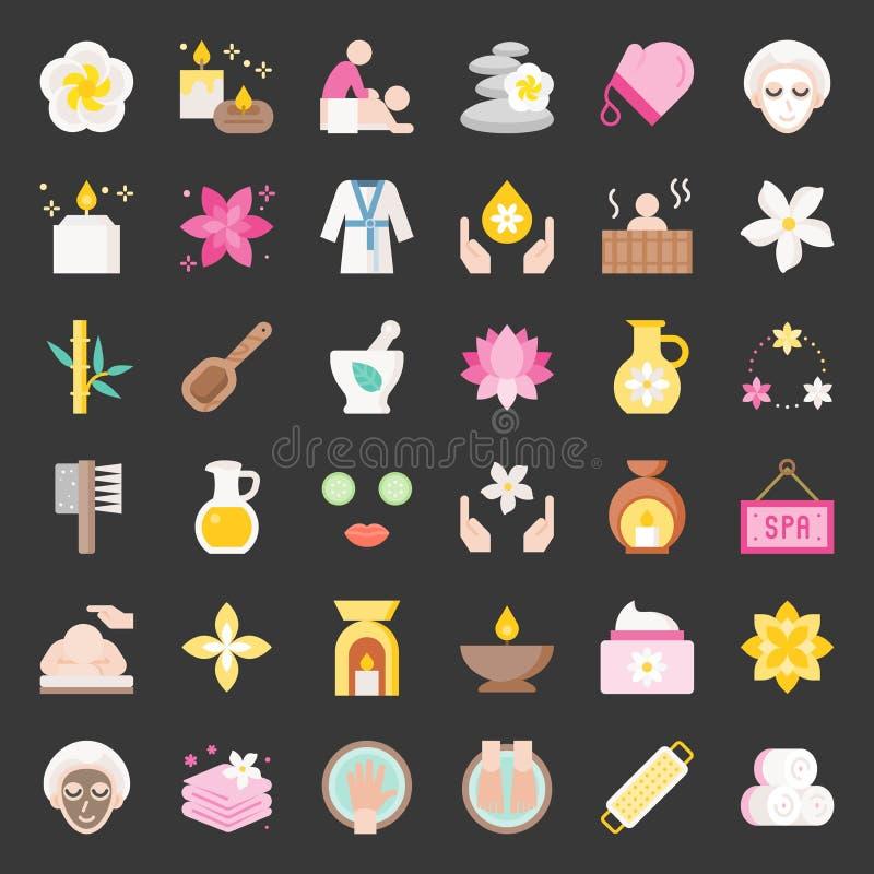 Elementos del balneario y de la sauna de la salud, icono plano del diseño stock de ilustración