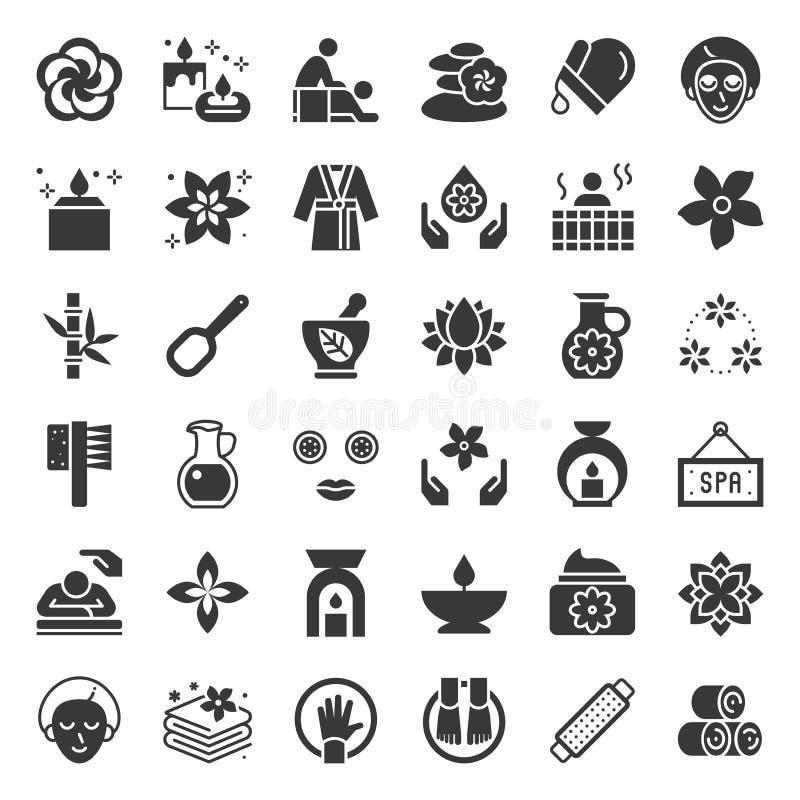 Elementos del balneario y de la sauna de la salud, icono sólido ilustración del vector