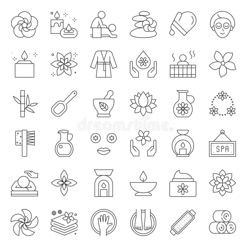 Elementos del balneario y de la sauna de la salud, línea fina icono del diseño stock de ilustración