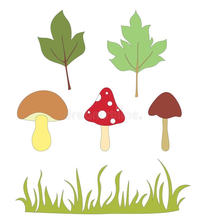 Elementos del bosque stock de ilustración