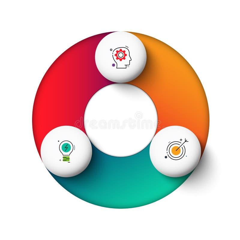 Elementos del círculo del gradeinte del vector para infographic Concepto del negocio con 3 opciones, porciones, pasos o procesos ilustración del vector