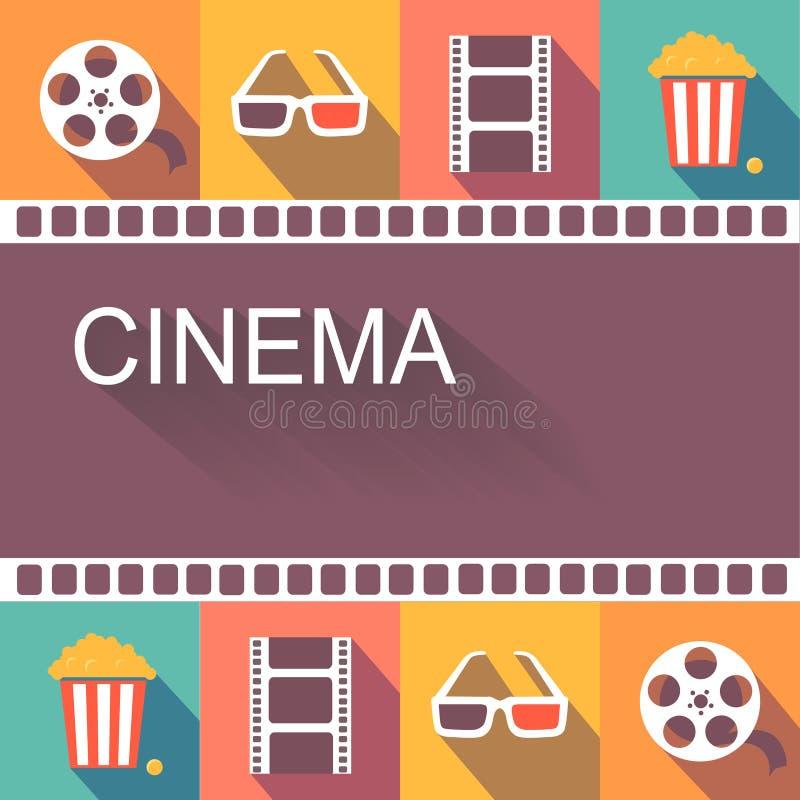Elementos del cartel y del diseño del cine de la película ilustración del vector