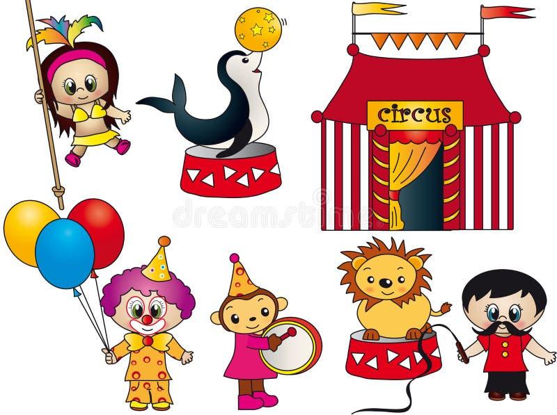 Elementos del circo stock de ilustración