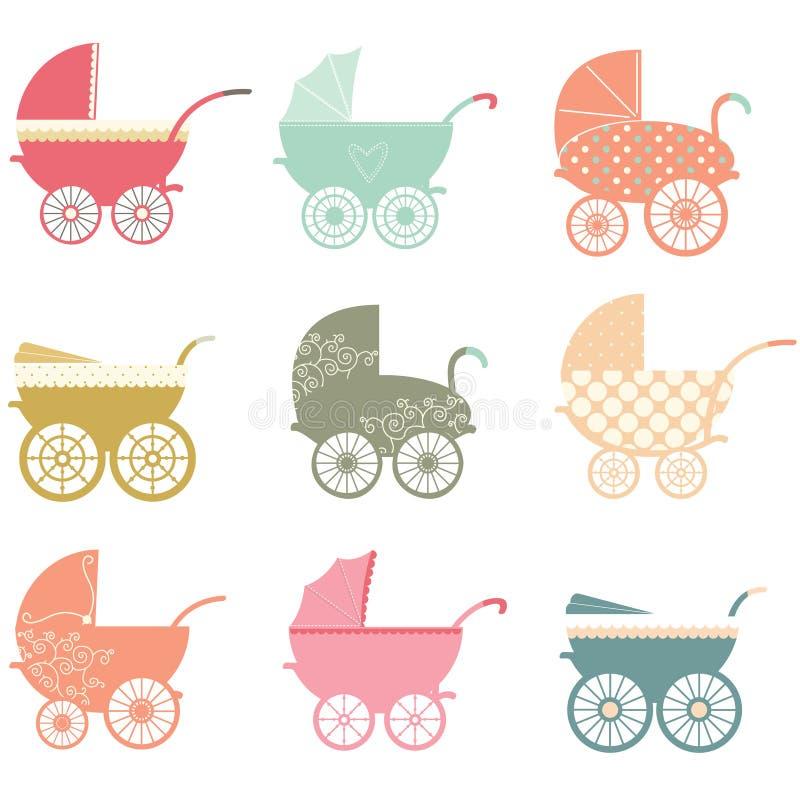 Elementos del cochecito de bebé ilustración del vector