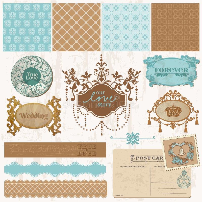 Elementos del diseño - conjunto de la boda de la vendimia stock de ilustración
