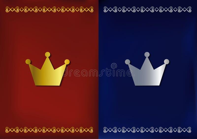 Elementos del diseño Coronas de oro y de plata en fondos rojos y azules del terciopelo con el ornamento stock de ilustración