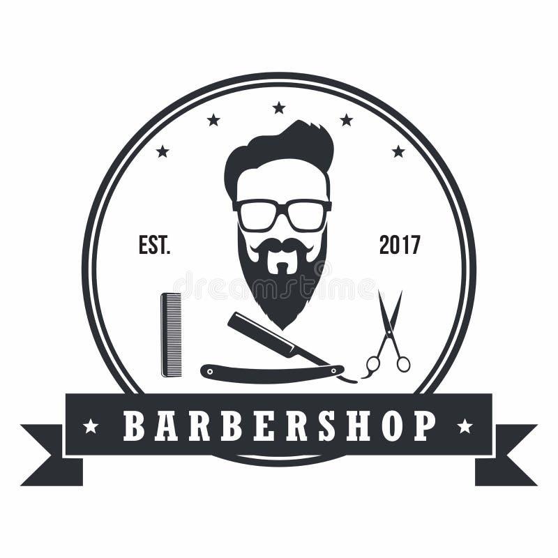 Elementos del diseño de Barber Shop Hipster Badges Vintage Logotipo, etiquetas, bandera, emblemas Ilustración del vector ilustración del vector