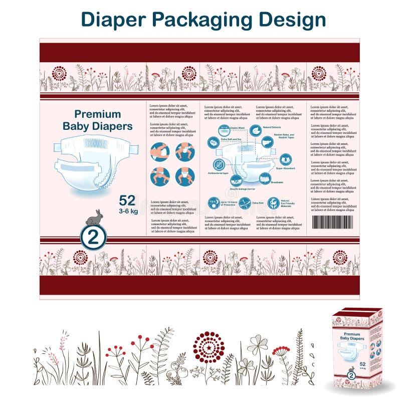 Elementos del diseño de empaquetado del pañal en estilo del bosque del garabato Diseño pakaging del panal para la talla 2, con la ilustración del vector