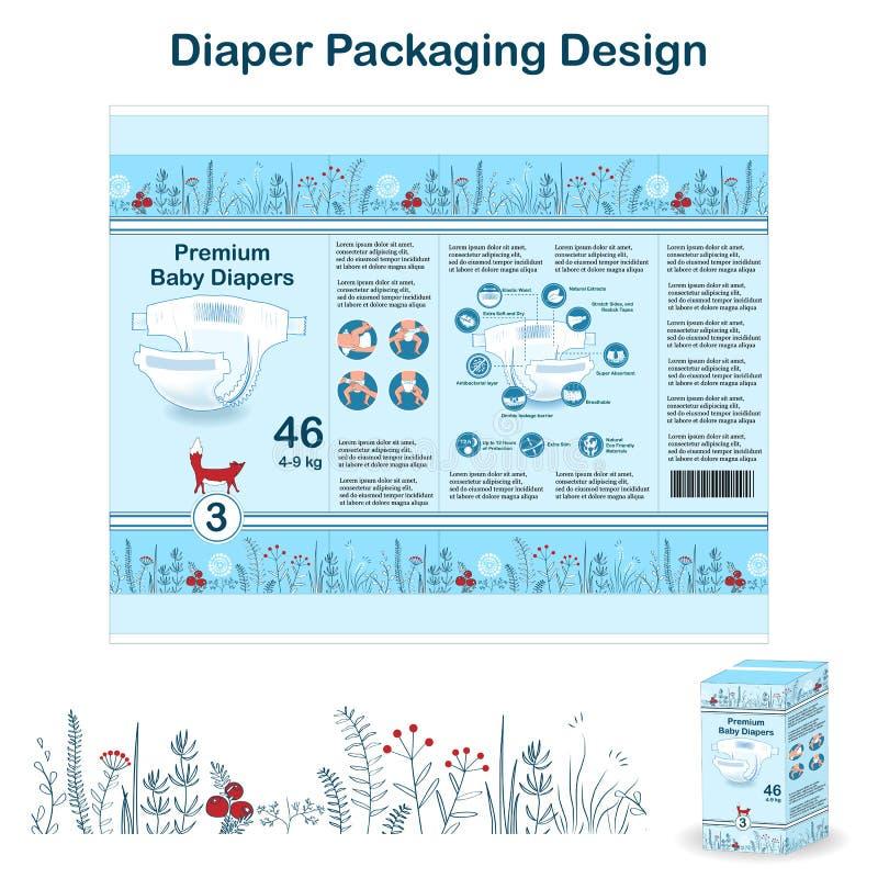 Elementos del diseño de empaquetado del pañal en estilo del bosque del garabato Diseño pakaging del panal para la talla 3, con la ilustración del vector